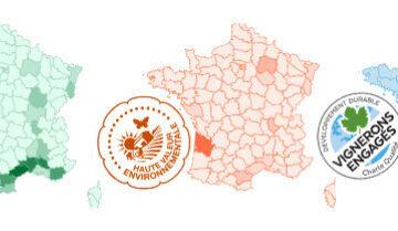Les cartes des démarches environnementales du vignoble français